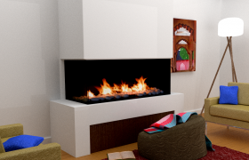 Sitting Room Interior 3D model - Visualization of a simple sitting room with a fireplace.