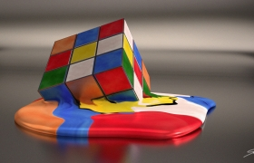 Melting rubics cube 3D model - Main illustration