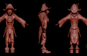 Pirate! 3D model - Sculpt of the character before posing