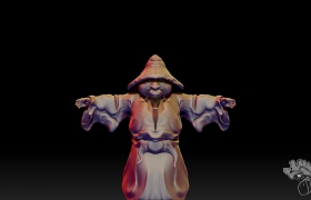 Samuraii 3D model - Front view of the sculpt
