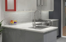 Red Modern Kitchen Style  3D model