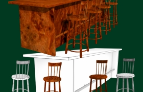 Bar and Stool fbx and obj 3D model - A Wooden Bar