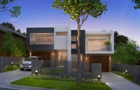 3D EXTERIOR 3D model - Dawn mood. 3d visualization.
