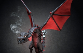 Wyvern 3D model - realtime screenshot, background and smoke added in postpro