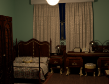 Cluttered bedroom 3D model - A cloth modifier was used to create the curtains as well as the bed covers. A glossy shader was used to create the dark furnish on the wooden furniture.