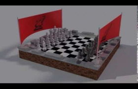 Blender Chess Render 3D model - A small video clip of the chess set with its banners blowing in the wind. My first attempt at using force fields in Blender.