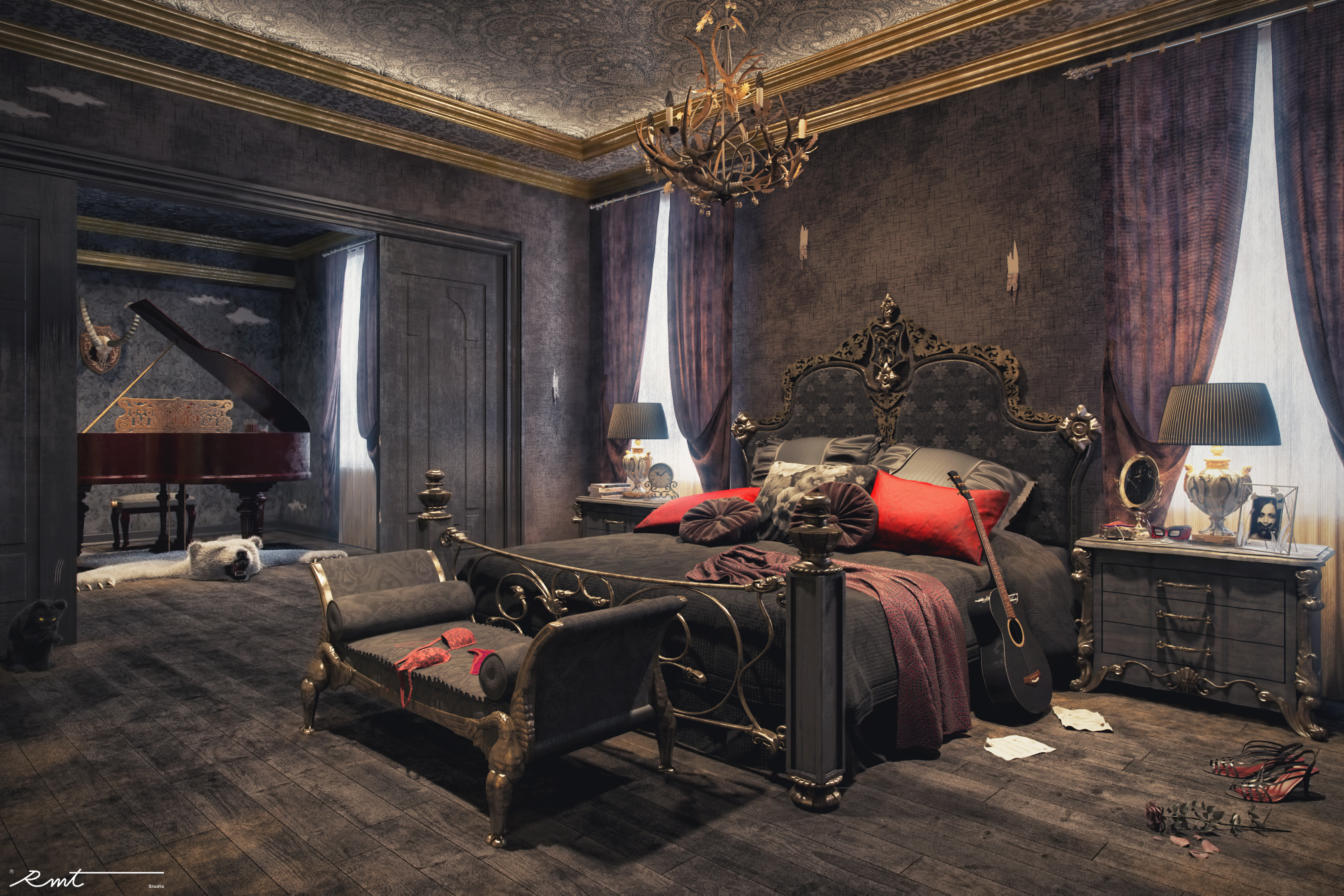 Gothic Bedroom Freelancers 3d