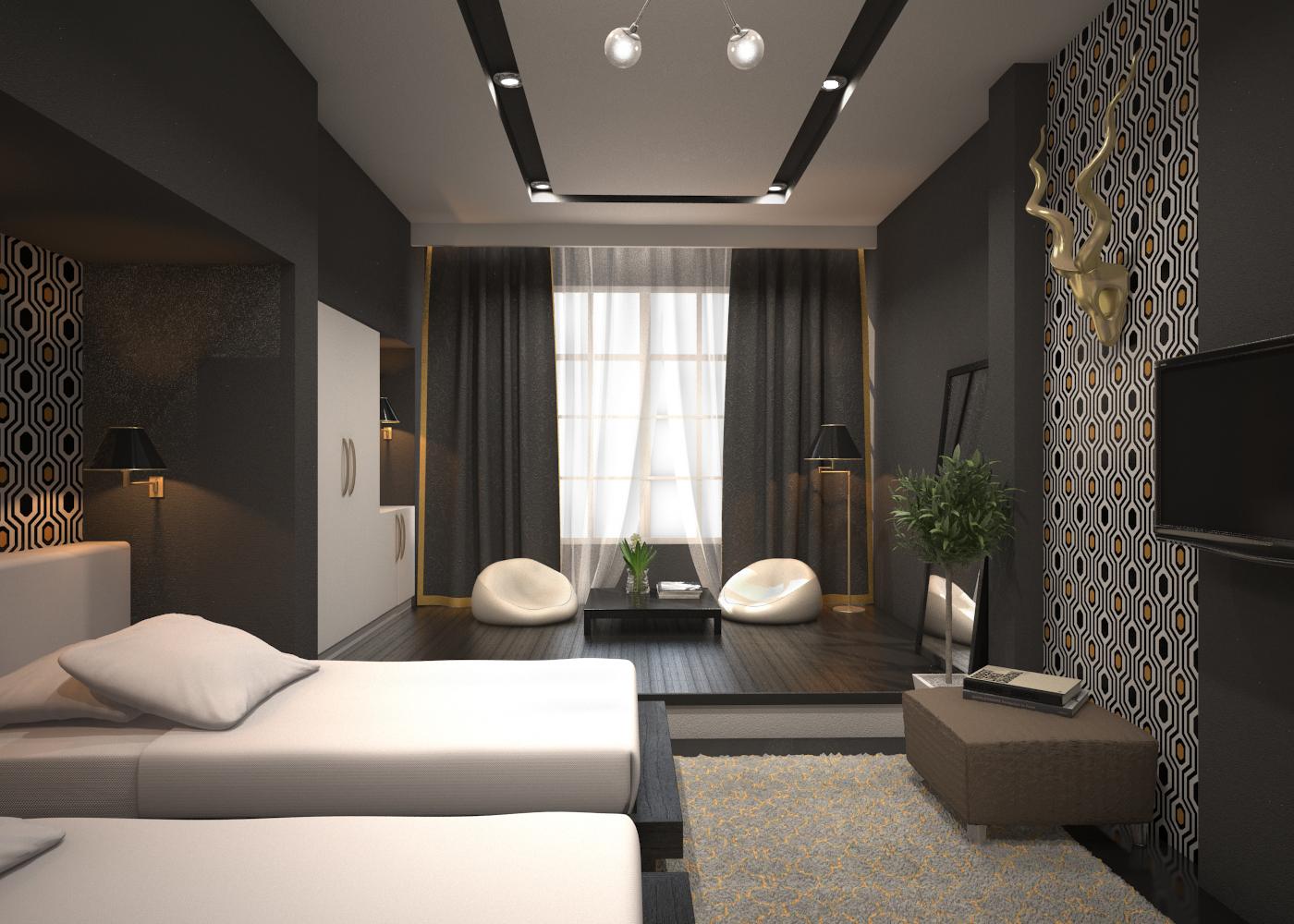 MODERN HOTEL ROOM 3D Model