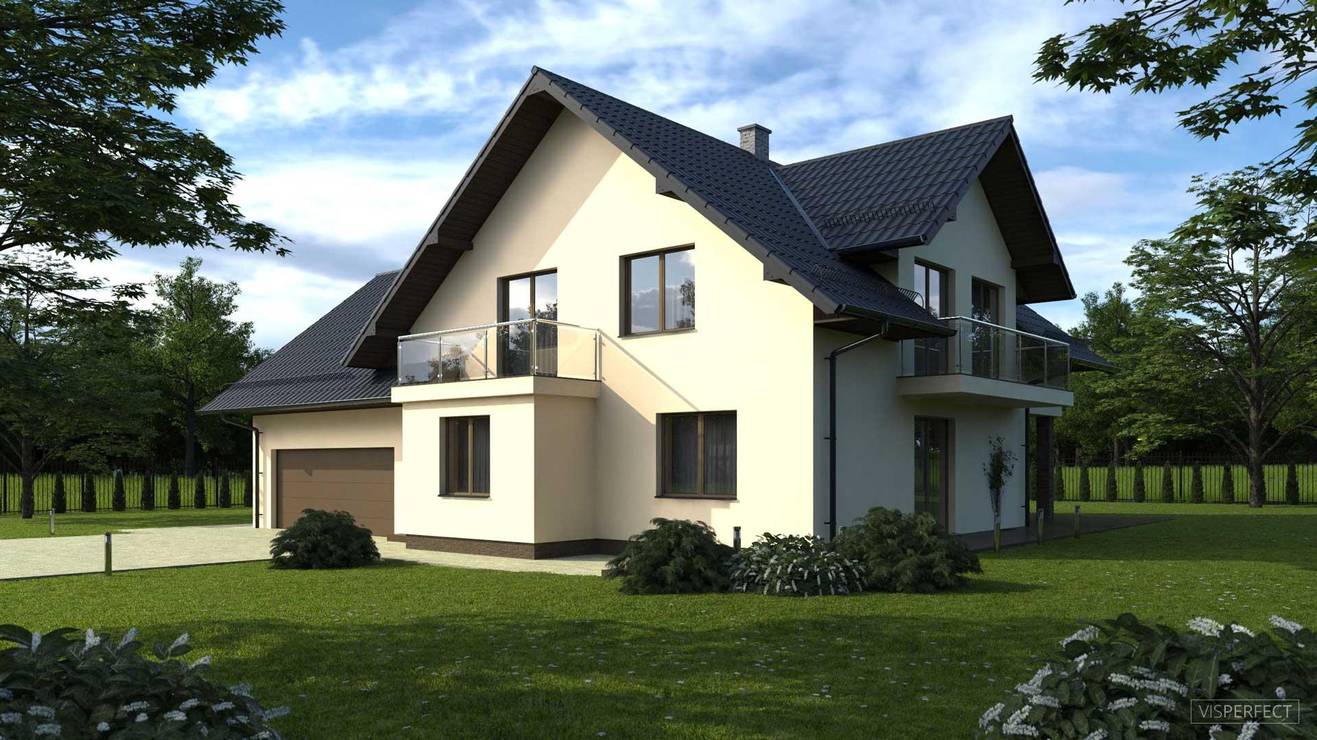 Detached house visualization 3D model